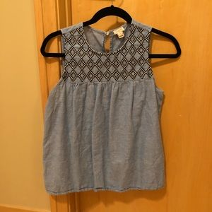 Embroidered, chambray tank
